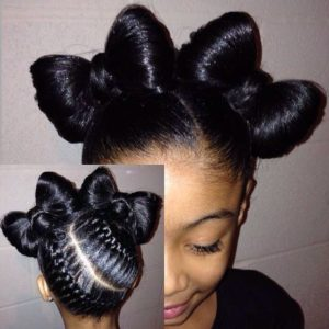 cornrows with bow buns
