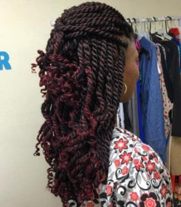 Long Kinky Twists With Burgundy Ends