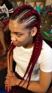 chunky red feed in cornrows