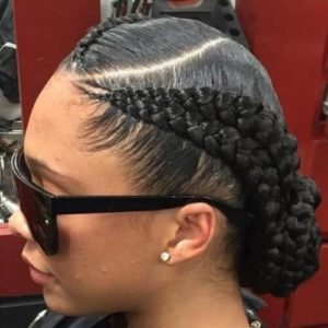 feed in braids low bun
