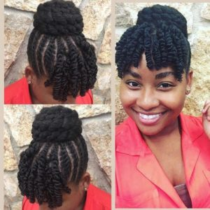 braided bun with twisted bangs