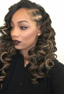 blonde highlights side part sew in