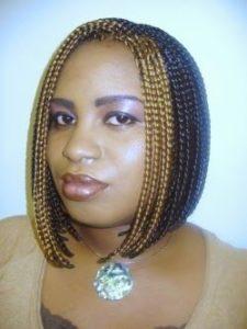 golden streaked bob braids