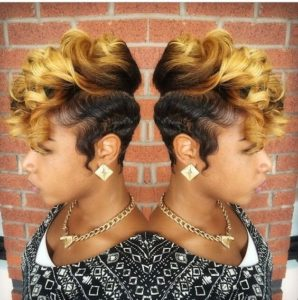 golden tapered cut with finger waves