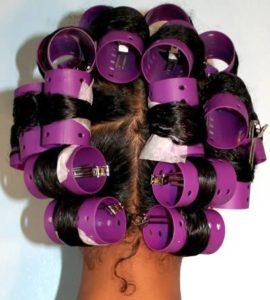 roller set relaxed hair
