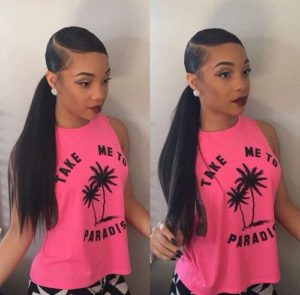 side part sew in ponytail