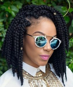 Bob Braids With Side Part And Gold Beads