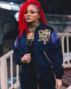 bright red faux locs