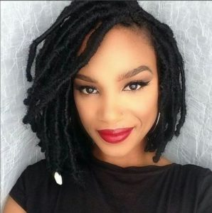 faux locs bob with cowrie shell