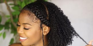 natural hairstyles for medium length hair curls with chunky cornrow