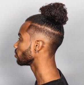 Burst Fade Cut With Man Bun