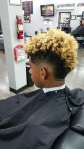 Curly Blonde Burst Fade
