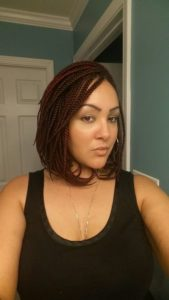 Short Box Braids With Red Streaks