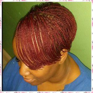 Short Red Micro Braids
