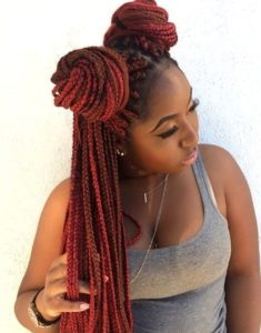Red Box Braids With Double Buns