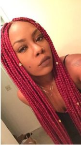 Red Box Braids With Gold Beads