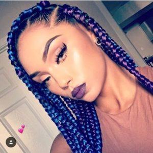 Blue And Purple Chunky Box Braids