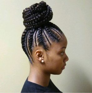 Large And Small Feed In Braids High Bun
