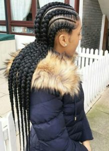 Large And Small Straight Back Feed In Braids