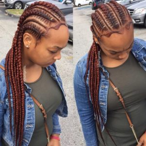 Red Straight Back Feed In Braids