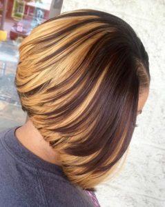 blonde layered sew in bob