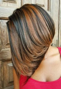 highlighted stacked sew in bob