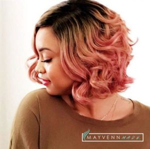 pink ombre sew in bob