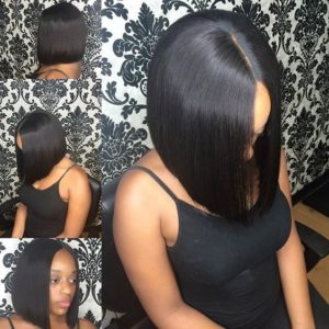 sleek sew in bob with middle part