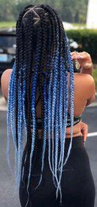 Blue Ombre Triangle Box Braids