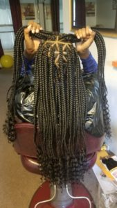Triangle Box Braids With Curly Ends