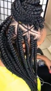 Triangle Box Braids With Cornrowed Design