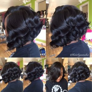 curly quick weave bob