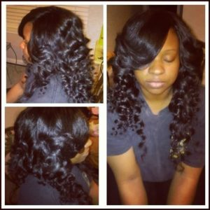 long curly quick weave hair
