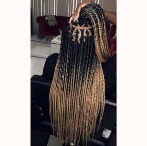 blonde ombre triangle part box braids