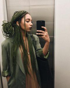 olive green box braids