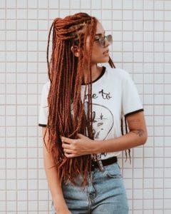 reddish blonde box braids