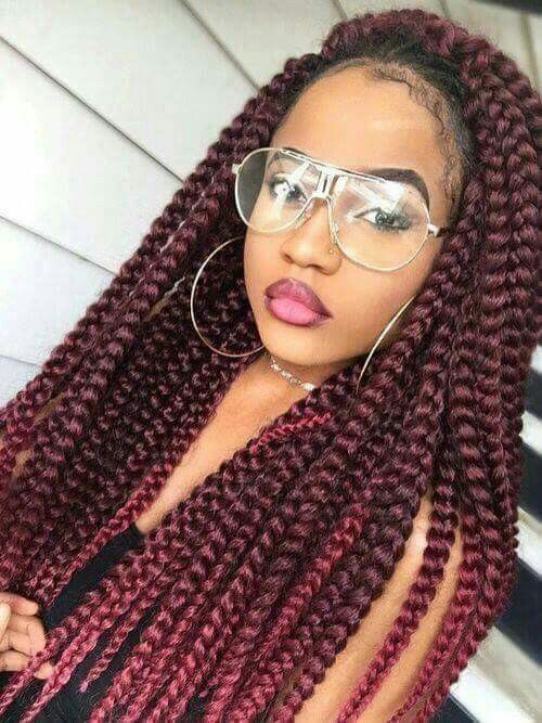 30 Burgundy Box Braids Styles