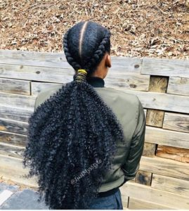 Chunky Cornrows With Curly Ponytail