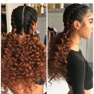 Chunky Cornrows With Ombre Pigtails