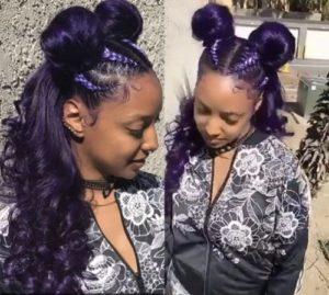 Purple Double Buns With Braids