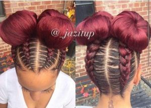 Red Double Buns With Braids