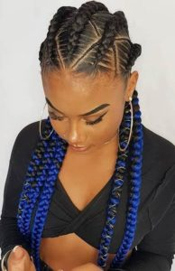 Black and Blue Feed In Braids
