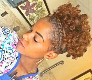 Curly High Puff With Cornrowed Headband