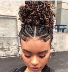 Curly Puff With Flat Twists and Cornrows