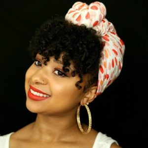 Head Wrap With Curly Bangs