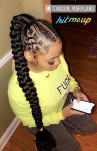 Braided High Ponytail With Cornrows
