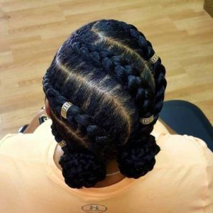 Cornrows With Double Buns