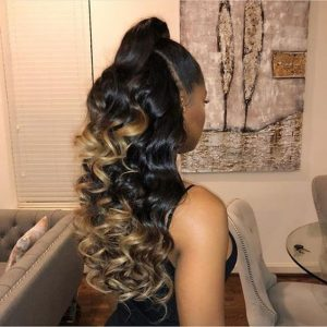Half Up Half Down Ombre High Ponytail