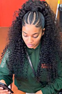 Super Curly High Ponytail With Cornrows