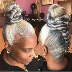 Super high upside braid bun